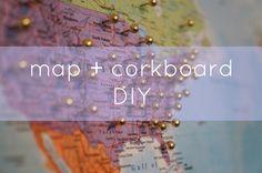 Julie Ann Art: Map Corkboard DIY by Be Good Natured - love this @Julie Ann!