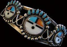 Ornate, Old Zuni Pawn Triple Sun Face Multistone Bracelet