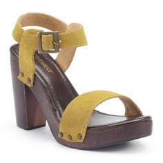 Suede Sandals with 10 cm Wooden Heel