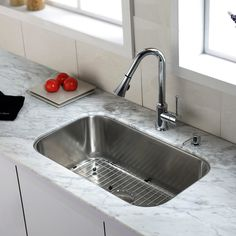 "Kitchen Combos 31.5"" x 18.38"" Single Bowl Undermount Kitchen Sink with Faucet"