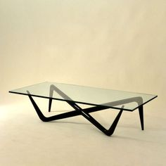 Rene-Jean Caillette; Lacquered Wood and Glass Coffee Table, 1950s.