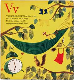 Stig Lindberg hammock alarm clock illustration