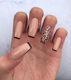 Acrylic Nails Coffin Short, Simple Acrylic Nails, Fall Acrylic Nails, Acrylic Nail Designs, Long Nail Designs, Cheetah Nail Designs, Edgy Nails, Stylish Nails, Trendy Nails