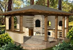 architectural project of smokehouses, bread ovens, barbecues, arbors and even