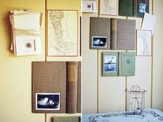 Wall decor with old books cover