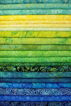 """Totally Tropical"" batik strips. Lemon, lime, and the cool teals and blues of the water. A vacation for your eyes!"