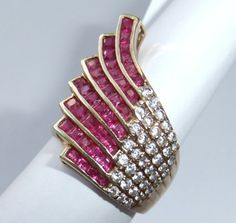 Big Dazzling Retro Vintage 14k Solid Gold Ruby Diamond Ring | eBay