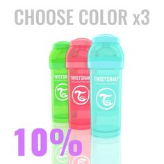 25.38€ Multipack with 3x 260ml/9oz Twistshake bottles in color of your choice.