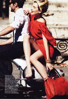 Dree Hemingway by Alexi Lubomirski in Simply Red | <em>Harpers Bazaar US</em> September 2010