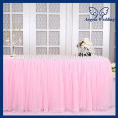Source SK005H New Arrival 2015 Beautiful Bridal Ruffled Wedding Pink Tulle Table Skirt On M