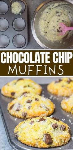 These chocolate chip muffins are tender, moist, and packed with chocolate! They're super easy to make and will be gone in a flash! #chocolatechipmuffins #chocolatechipmuffinrecipe Homemade Chocolate Chip Muffins, Chocolate Chip Cupcakes, Easy Chocolate Desserts, Dairy Free Chocolate Chips, Homemade Muffins, Pumpkin Chocolate Chips, Chocolate Cake, Easy Cake Recipes, Muffin Recipes