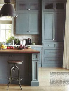 Gray kitchen - Farrow and Ball Down Pipe on the cabinets and Benjamin Moore Chelsea Gray on the mahogany-topped island