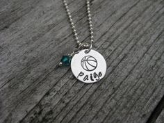 Basketball Necklace Personalized Jewelry Sterling by ESDesigns14