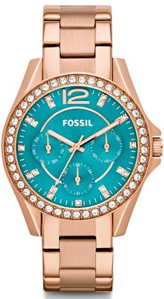 Fossil Women's Riley Rose Gold-Tone Stainless Steel Bracelet Watch - All Fossil Watches - Jewelry & Watches - Macy's Stainless Steel Watch, Stainless Steel Bracelet, Emporio Armani, Jewelry Accessories, Fashion Accessories, The Bling Ring, Fossil Watches, Women's Watches, Gold Watches