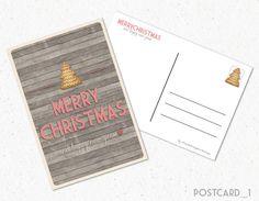Cartolina Natalizia Printable Christmas di FreshGraphicDesign #Christmas #Postcard #Etsy