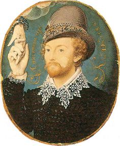 Miniature of an Unknown Man by Nicholas Hilliard, 1588. (Victoria & Albert Museum)