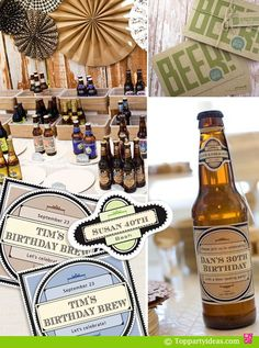 vintage party themes for him | Party with Personalized Beer Label for guest of honor, vintage ...
