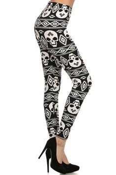 Black Skull Print Lined Leggings – Niobe Clothing