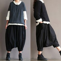 Black linen trousers  loose hanging crotch pants by qinbailiang