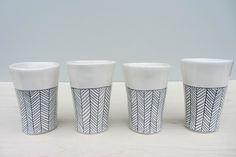 Porcelain Herringbone Cups in Black and White