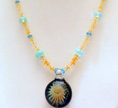Necklace made with Apatite Citrine Lampwork Beads by Smokeylady54