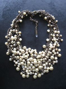 Faux Pearl Statement Necklace // Bridal Jewelry // Choker