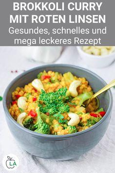 Dieses Linsen Curry mit Brokkoli ist gesund und schnell gemacht. Hier findest du das vegane Curry Rezept mit Kokosmilch, Brokkoli und Linsen. Food Humor, Savoury Dishes, Meal Prep, Vegan Recipes, Dinner Recipes, Veggies, Food And Drink, Lunch, Meals