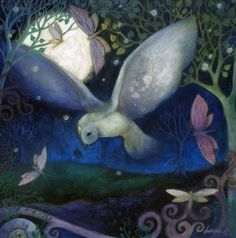 Mounted/matted art print. The Owl and Moon by Amanda Clark. $24.00, via Etsy.
