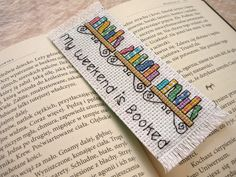 Cross stitch bookmark - My weeken is booked, embroidered bookmark, gift for readers, book lover by MariAnnieArt on Etsy