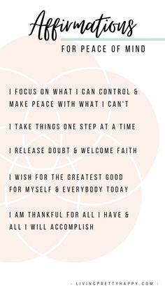 Affirmations for Peace of Mind.