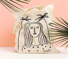 Girl and Palms Tote bag, organic canvas tote, screen printed tote bag, illustration on Etsy Printed Tote Bags, Cotton Tote Bags, Canvas Tote Bags, Do It Yourself Baby, Painted Bags, Women's Accessories, Screen Printing, Etsy, Prints