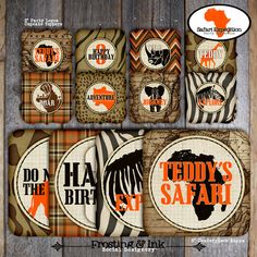 Safari Party  Complete Collection  Toppers by frostingandink
