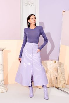Christian Siriano Pre-Fall 2019 Fashion Show Collection: See the complete Christian Siriano Pre-Fall 2019 collection. Look 14 Lila Outfits, Purple Outfits, Colourful Outfits, Mode Outfits, Fashion Outfits, Purple Fashion, Colorful Fashion, Look Fashion, Runway Fashion
