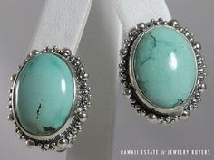 STEPHEN DWECK 925 STERLING SILVER LARGE TURQUOISE CABOCHON CLIP EARRINGS