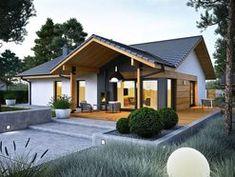 DOM.PL™ - Projekt domu ACX Mini 4 w. II CE - DOM UF1-11 - gotowy koszt budowy Wooden House Plans, Small Wooden House, House Floor Design, Bungalow House Design, Casas Country, Modern Small House Design, House Construction Plan, Architectural Design House Plans, 4 Bedroom House Plans
