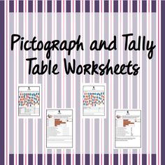 These 2 worksheets provide extra practice in tally tables and pictographs. Memos are included. Worksheets, Tables, Bullet Journal, Mesas, Literacy Centers