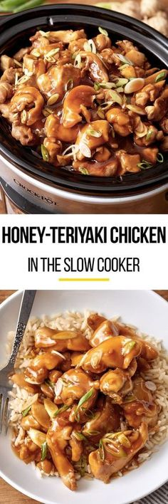 Easy honey teriyaki chicken in the slow cooker. Use your crock pot to make this simple meal. Like your favorite stir fry only with a homemade honey garlic sauce kids and adults both love! Recipes like this are perfect for quick weeknight dinners. Crockpot Dishes, Crock Pot Slow Cooker, Crock Pot Cooking, Slow Cooker Chicken, Slow Cooker Recipes, Cooking Recipes, Crockpot Meals, Crock Pots, Freezer Recipes