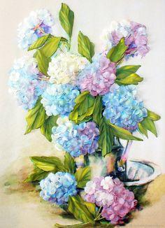 Купить Картина лентами Гортензии 40 х 30 см в интернет магазине на Ярмарке Мастеров