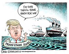 9/19/15  6:45p  Trump Shark Bait  More  Slurs 7/07/15 Dave Granlund politicalcartoons.com
