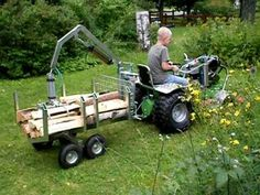 Homebuild tractor with compressed air woodcart Lawn Tractor Trailer, Atv Utility Trailer, Tractor Room, Yard Tractors, Small Tractors, Compact Tractors, Lawn Mower Trailer, Zombie Survival Vehicle, Woods Equipment