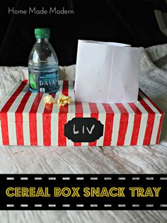 cereal box snack tray