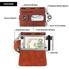 "▶ Top wallets: ••Trayvax Element Wallet•• $84 2016-12 • leather / 12 credit cards / RFID-resistance / hidden bottle opener • 4.5x2.8x0.5"" • 8oz • ASIN: B01D7UQ19I"