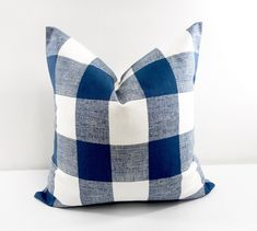 Navy Blue Check  Pillow cover. 18x18 Blue  pillow cover. Blue and white. country style pillows. Decor. Christmas Pillows by TwistedBobbin, $14.40 USD