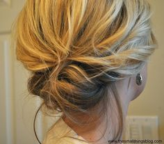 messy up do. This is amazingly easy and do-able on shoulder length hair!