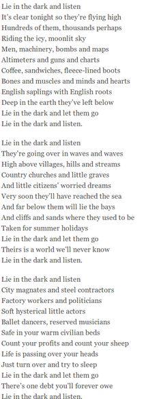 Lie in the Dark and Listen – by Noel Coward (1899-1973). http://www.annabelchaffer.com/