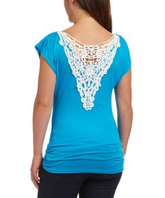 Love this Turquoise Lace-Back Cowl Neck Top on #zulily! #zulilyfinds