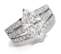 3 Row Split Band for Marquise Cut Diamond Engagement Ring 0.40 tcw. In 14K White Gold