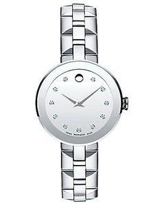 Movado Diamond & Stainless Steel Bracelet Watch - Silver