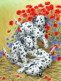Dalmatian Pups 2-Sided Garden Flag