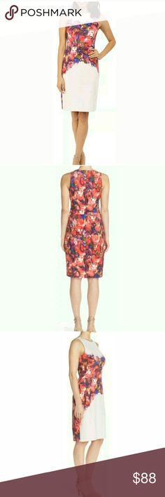 """MAGGY LONDON FLORAL PLACED SCUBA MIDI DRESS Never worn. It is store display. MAGGY LONDON FLORAL PLACED SCUBA MIDI DRESS CREAM SCARLET US 14 UK 18 EU 44 .HIDDEN BACK ZIP CLOSURE. JEWEL NECK. SLEEVELESS. FULLY LINED. 93% POLYESTER 7% SPANDEX. ARMPIT TO ARMPIT APPROX 18"""",LENGTH APPROX 39"""".ALL MEASUREMENTS ARE TAKING WITH THE GARMENT LYING FLAT. ПР8. Maggy London Dresses Midi"""